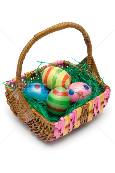 Páscoa cesta completo ovos de páscoa isolado Foto stock © winterling