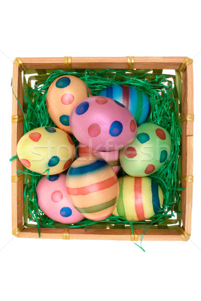 Colored Eggs in a Wooden Basket Stock photo © winterling