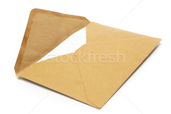 Brun vintage enveloppe vieux ouvrir isolé Photo stock © winterling