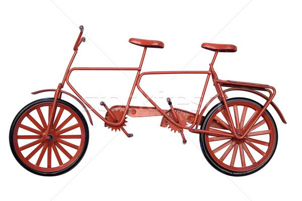 Tandem model Rood fiets geïsoleerd Stockfoto © winterling