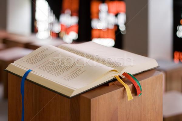 Photo stock: Livre · ouvrir · bible · bois · autel