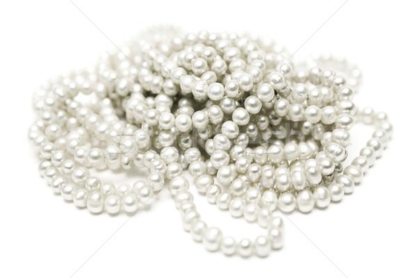Perle collier précieux pièce bijoux blanche Photo stock © winterling