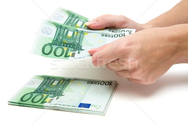 Nyereség nő Euro bankjegyek fehér üzlet Stock fotó © winterling