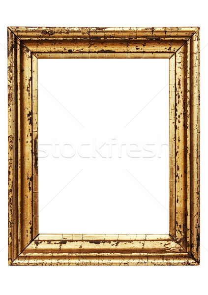 Weathered Golden Picture Frame with Clipping Path Stock photo © winterling