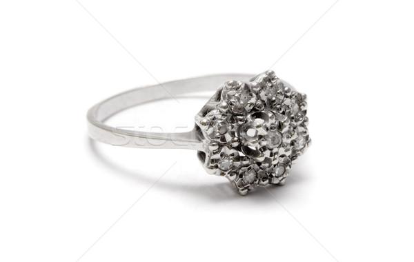Argent bague en diamant précieux alliance isolé blanche Photo stock © winterling