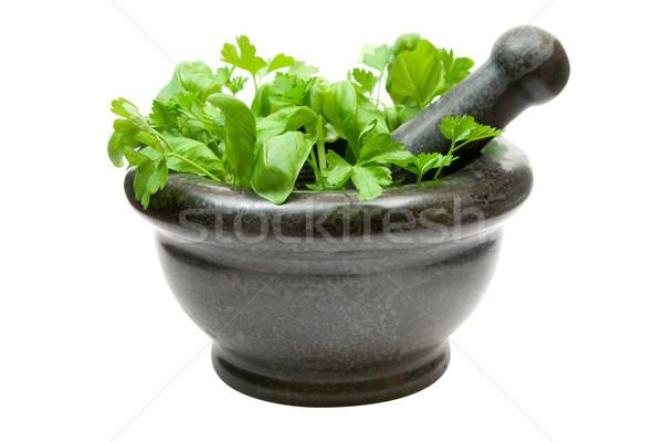 Crushing Fresh Herbs Stock photo © winterling