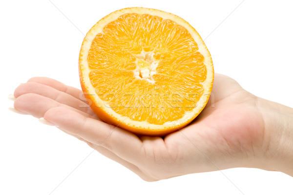 Tart szeletel narancs női kéz izolált Stock fotó © winterling