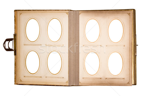 Old Photo Book for Eight Pictures with Clipping Path Stock photo © winterling
