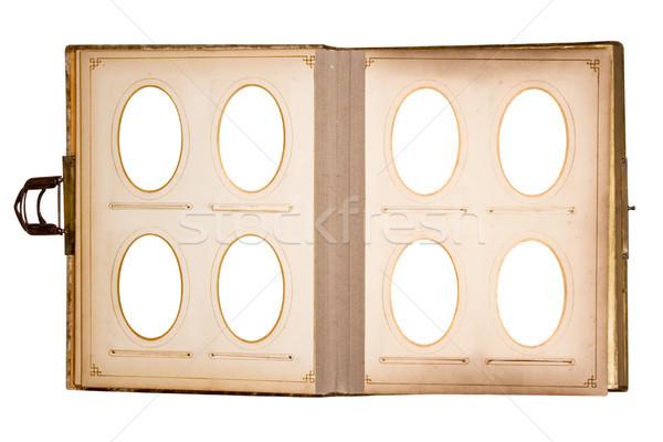 Régi fotó könyv nyolc képek vágási körvonal izolált Stock fotó © winterling