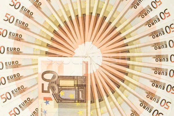 Cinqüenta euro dinheiro círculo notas negócio Foto stock © winterling