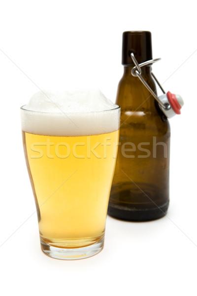 Glas bier lege fles witte ondiep Stockfoto © winterling