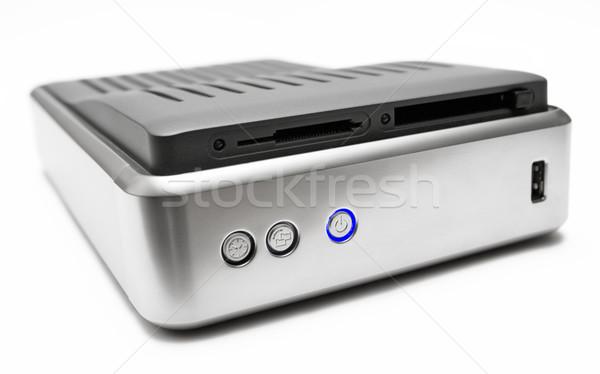 Metaliczny dysk twardy niebieski moc przycisk odizolowany Zdjęcia stock © winterling