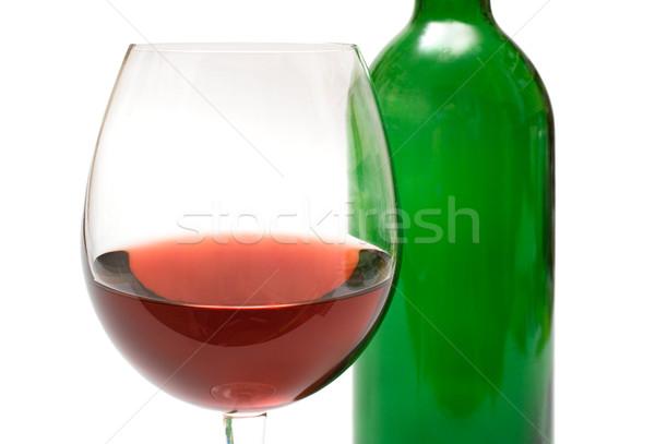 Verre de vin bouteille vin isolé blanche Photo stock © winterling