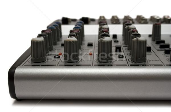 Muziek mixer metaal bureau geïsoleerd witte Stockfoto © winterling