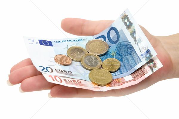 Euro verandering vrouwelijke hand bankbiljetten Stockfoto © winterling