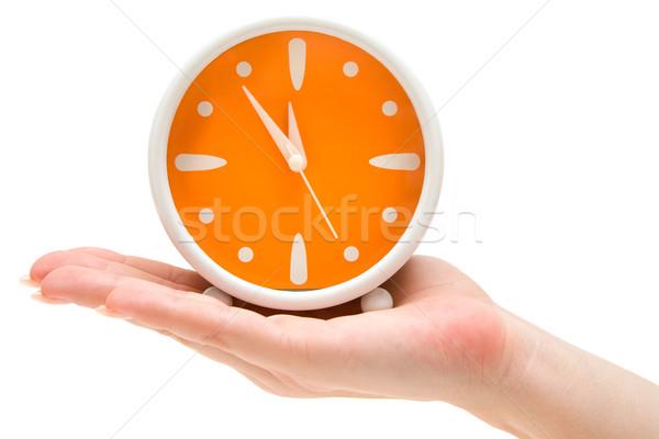 Czasu kobieta pomarańczowy budzik odizolowany Zdjęcia stock © winterling