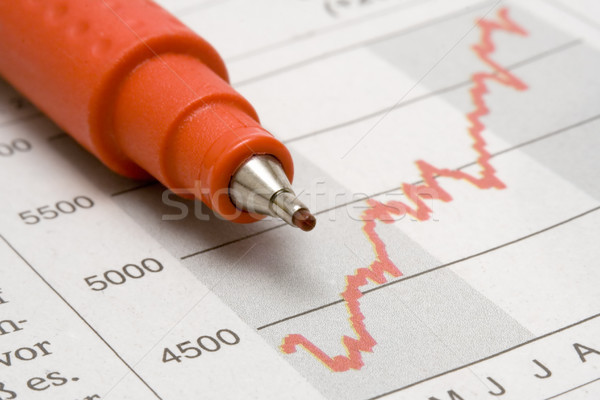 Stock Chart and Red Pen Stock photo © winterling