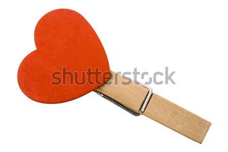 Coração prendedor de roupa vermelho anexada Foto stock © winterling
