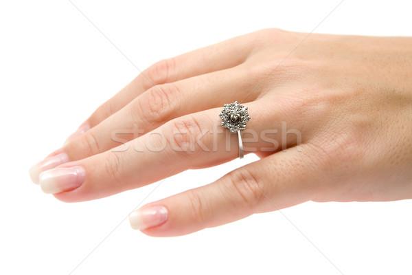 Cenny pierścionek z brylantem odizolowany biały kobieta Zdjęcia stock © winterling