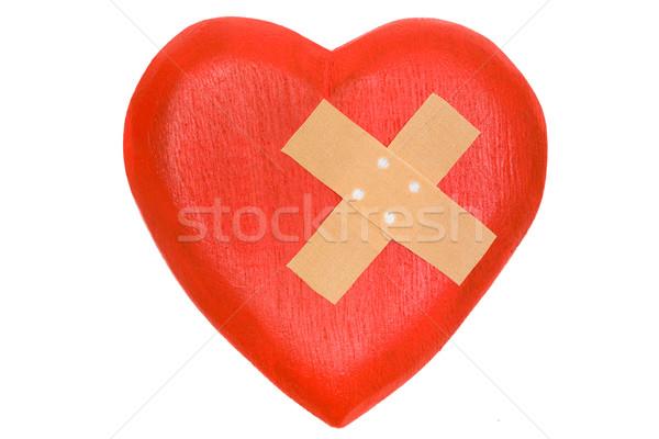 összetört szív fából készült szív tapasz izolált fehér Stock fotó © winterling