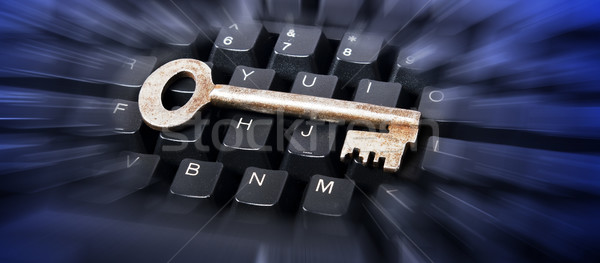Courir clé clavier affaires ordinateur Photo stock © wisiel