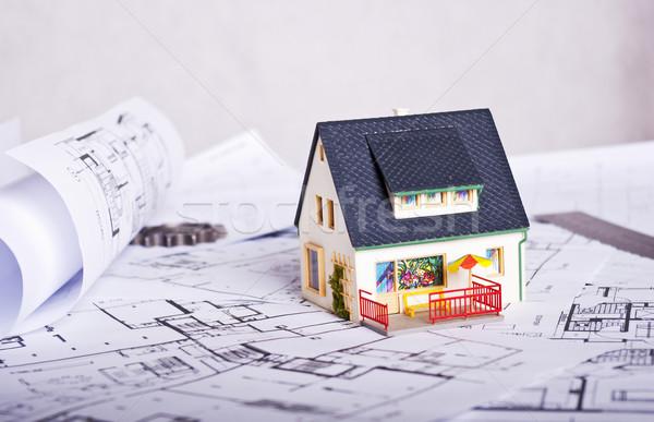 ストックフォト: 計画 · ミニチュア · 家 · 文書 · 紙 · 建物