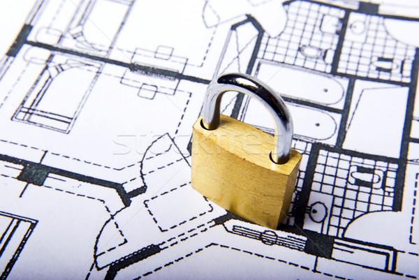 ストックフォト: ロック · 計画 · 南京錠 · 文書 · 白 · コンパス