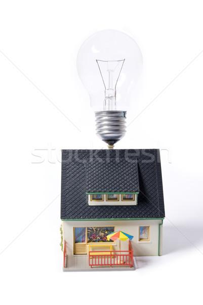 ストックフォト: 家 · 電球 · フラッシュ · 家族 · ホーム · 都市