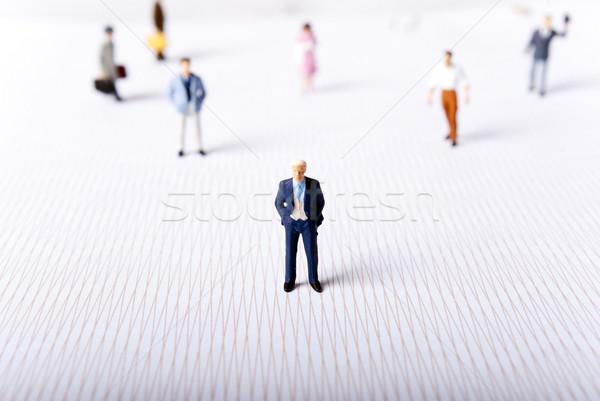 Minyatür insanlar adam kadın dünya dünya Stok fotoğraf © wisiel