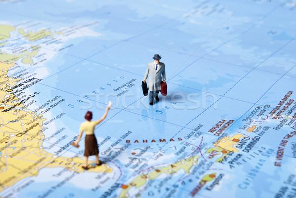 Világutazás miniatűr férfi világtérkép térkép üzletember Stock fotó © wisiel