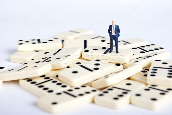 Domino один человека бизнеса деньги Сток-фото © wisiel
