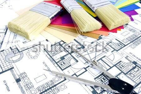 ストックフォト: 家 · 計画 · モデル · 文書 · 紙 · 建物