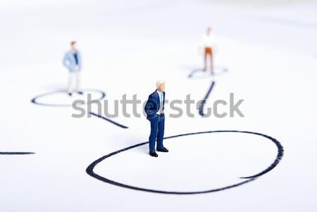 Miniatuur mensen team business kantoor vrouwen Stockfoto © wisiel