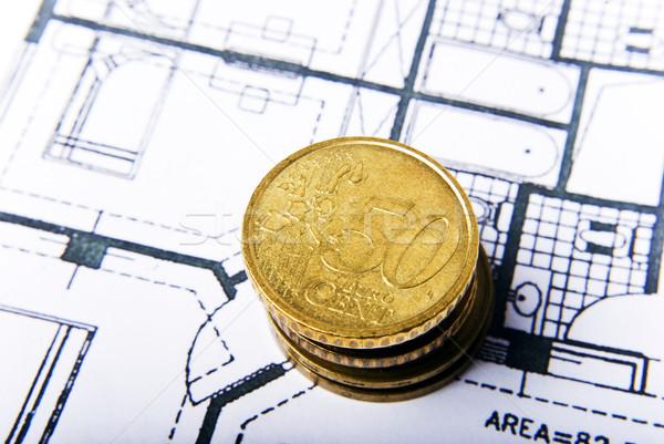 Foto stock: Dinheiro · planos · moedas · escritório · fundo