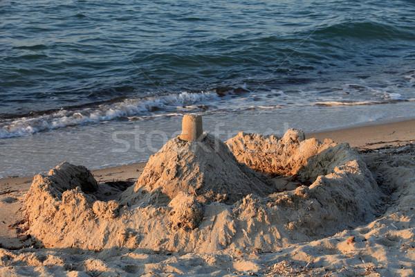 Homokvár tengerparti homok kastély tengerpart Stock fotó © wjarek