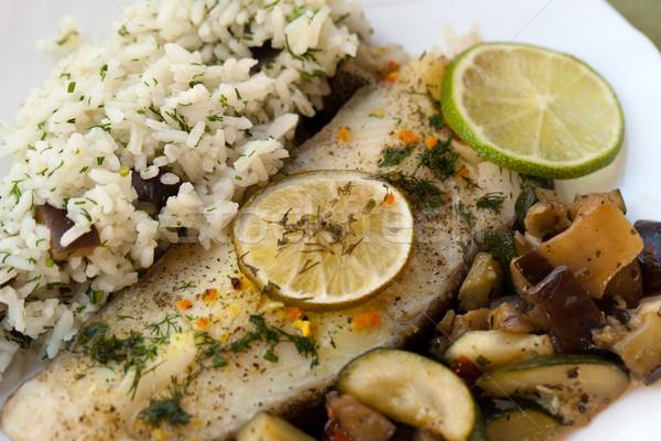 Fish with rice and eggplant  Stock photo © wjarek