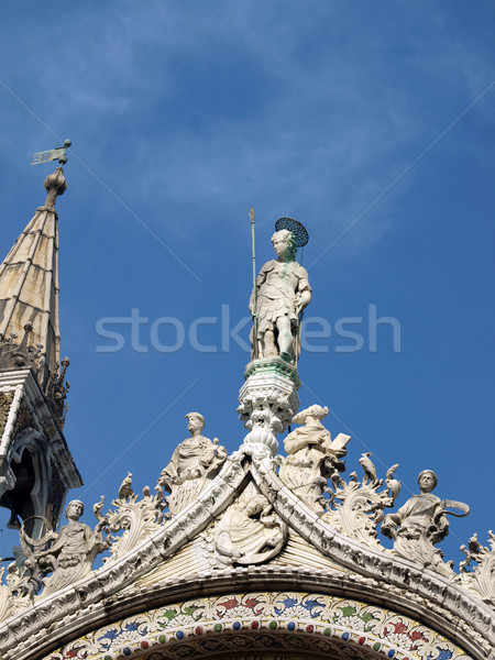 Venice - The richly decorated facade of the upper basilica of St. Mark's Stock photo © wjarek