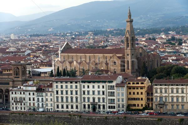 Florence - basilica of Santa Croce Stock photo © wjarek