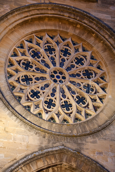 Kerk venster nacht architectuur cirkel middeleeuwse Stockfoto © wjarek