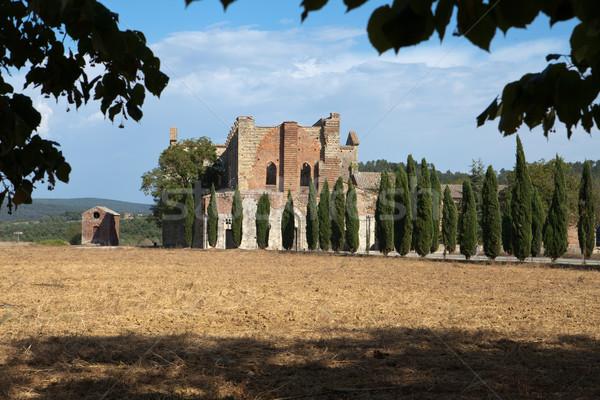 Opactwo Toskania Włochy budynku okno kościoła Zdjęcia stock © wjarek