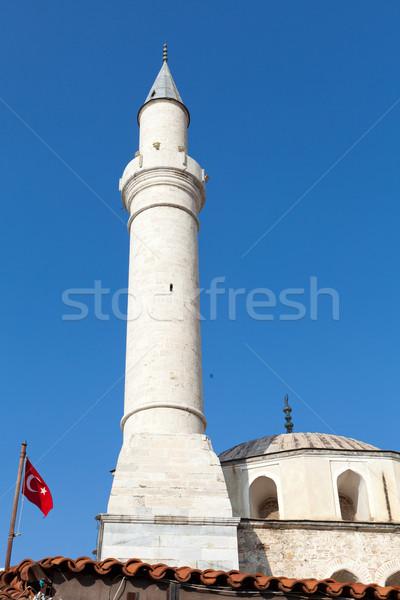 Minaret mecset épület naplemente tájkép háttér Stock fotó © wjarek