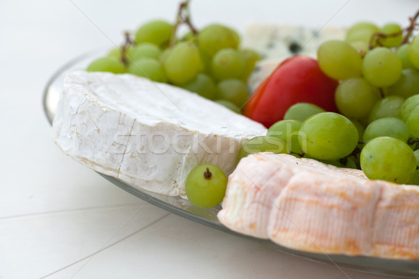 Cheese with white grapes and tomato Stock photo © wjarek