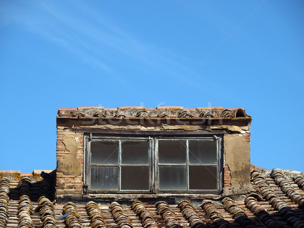 Stock photo:  Old roof and beautiful ancient windows - Tuscany, Italy