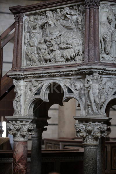 Pulpit by Nicola Pisano in the baptistery of Pisa Stock photo © wjarek