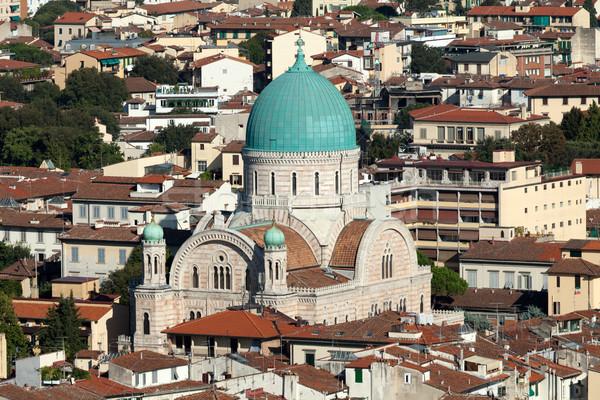 Florencja widoku główny synagoga kopuła miasta Zdjęcia stock © wjarek