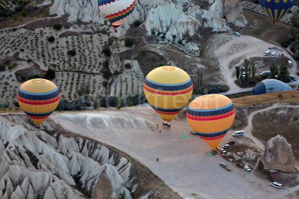 Hot Air Baloons over Cappadocia at sunrise Stock photo © wjarek