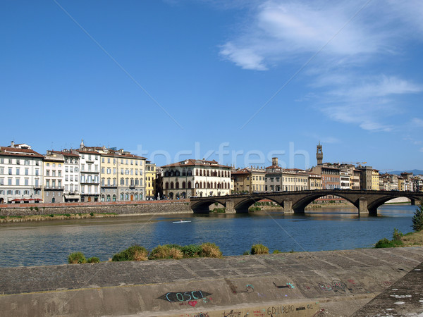 Florence - Buildings along Arno seen from Oltrarno Stock photo © wjarek
