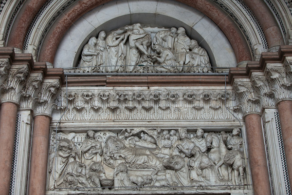Lucca - detail from St Martin's Cathedral facade Stock photo © wjarek