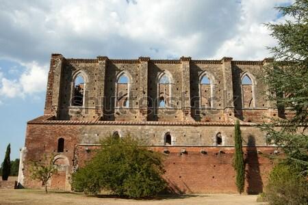 Côté mur abbaye Toscane bâtiment fenêtre Photo stock © wjarek