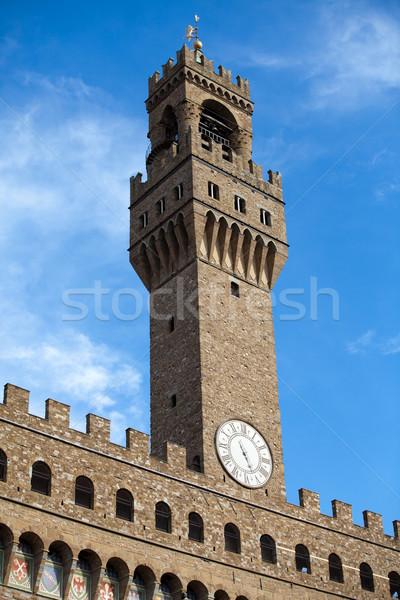 ストックフォト: フィレンツェ · フロント · クロック · 塔 · トスカーナ · ドア